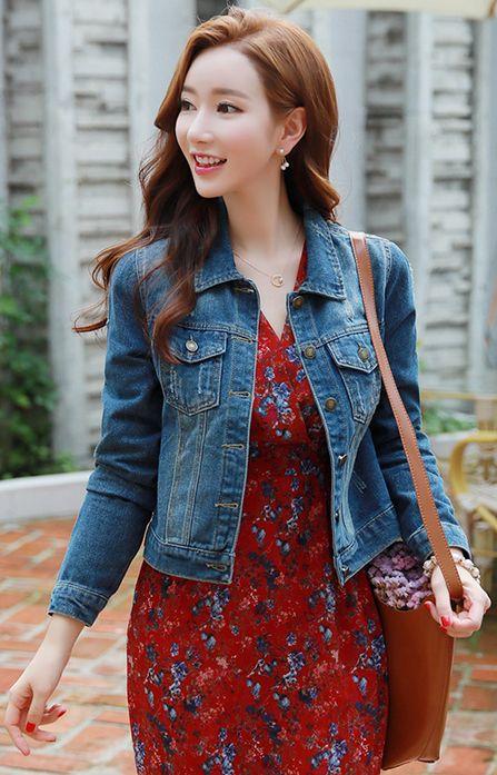 StyleOnme_Blue Wash Slim Fit Denim Jacket #blue #jacket #jean #denim #koreanfashion #kstyle #kfashion #seoul #dailylook