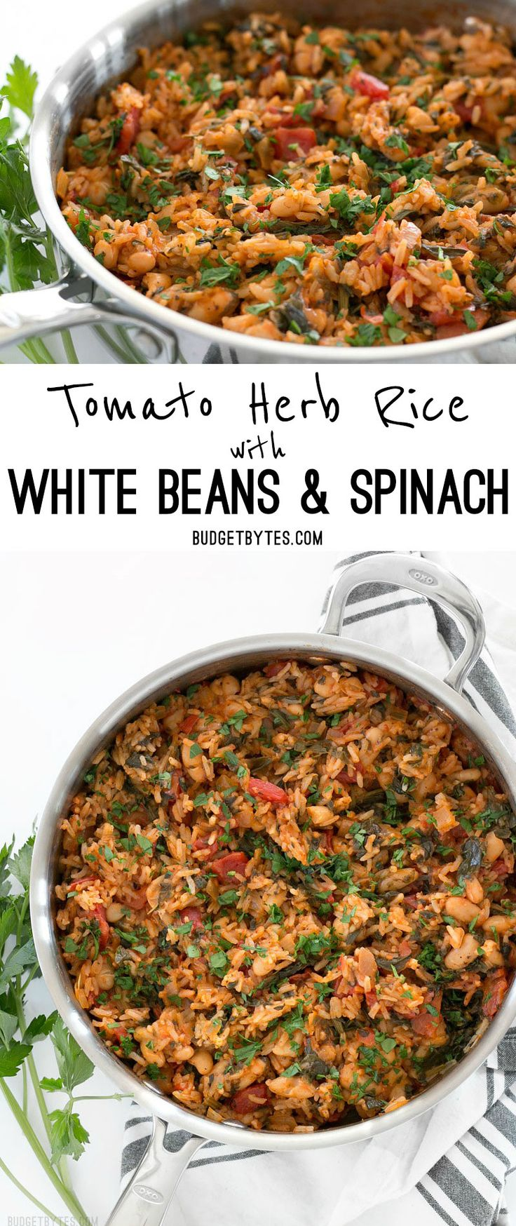 Tomato Herb Rice with White Beans and Spinach is a hearty and flavorful vegan dinner that will be loved by meat eaters and vegetarians alike. BudgetBytes.com