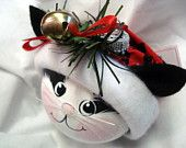 BLACK and WHITE CAT Hand Painted Handmade Christmas Ornament with Jingle Bell
