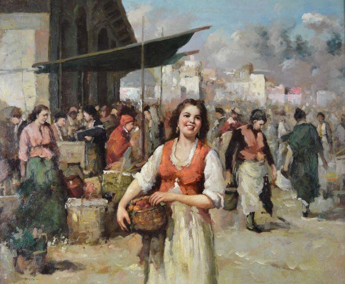 Giuseppe Pitto (1857-1928) - de schoonheid op een Italiaanse markt  Ik ben aanbieden voor de veiling een prachtig eind 19e of begin 20e eeuw-olieverf op paneel van een Italiaanse schoonheid op een markt van Napoli. Geschilderd door de populaire en gerenommeerde Italiaanse beursgenoteerde kunstenaar Giuseppe Pitto 1857-1928. Ondertekend linksonder. Typisch voor dit werk van de kunstenaars.Het schilderij meet 61 x 51 cm. Het frame meet 74 x 64 cm.Het schilderij is in goede orde. Bekijk alle…
