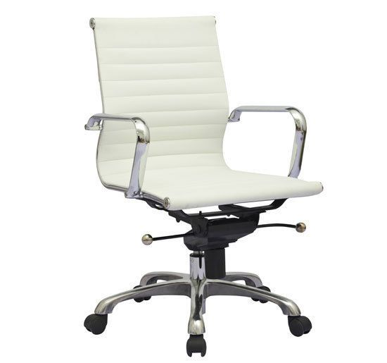 lexmod ribbed mid office. modern design white synthetic leather ribbed mid back office computer desk chair lexmod