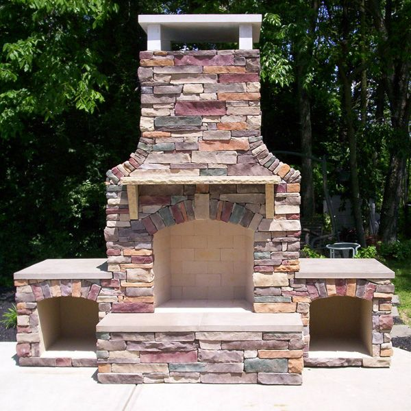 Stunning  Fireplace with Mantel Shelves, Wood Storage perfect outside or in the family room