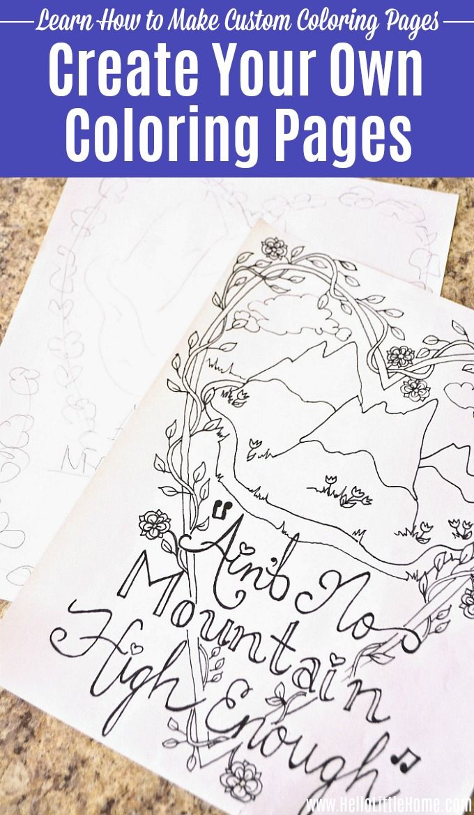 Make Your Own Coloring Pages Diy Coloring Books Name Coloring