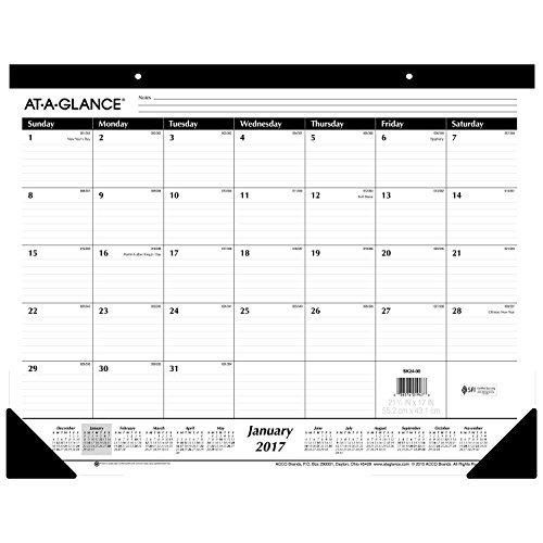 "AT-A-GLANCE Desk Pad Calendar 2017 Monthly Ruled 21-3/4 x 17"" (SK24-00)"