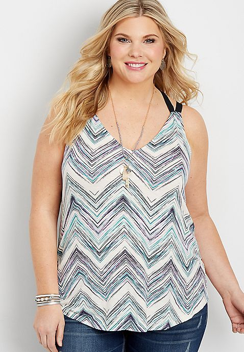plus size chevron stripe tank with cross back | maurices
