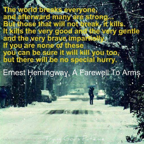 an overview of the themes in a farewell to arms by ernest hemingway The sun also rises is a 1926 novel written by american author ernest hemingway, about a group of american and british expatriates who travel from paris to the festival of san ferm n in pamplona to watch the running of the bulls and the bullfights.