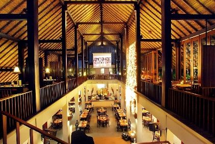 MAIN BUILDING. Looks so natural with wooden pillars & alang-alang rooftop. You can find many favorite spots here.
