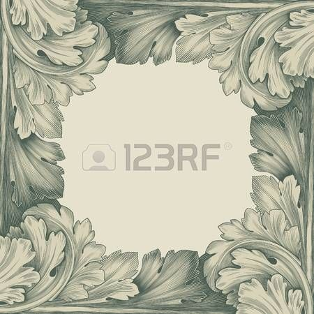 vintage border frame engraving with retro ornament pattern in antique rococo style decorative design photo