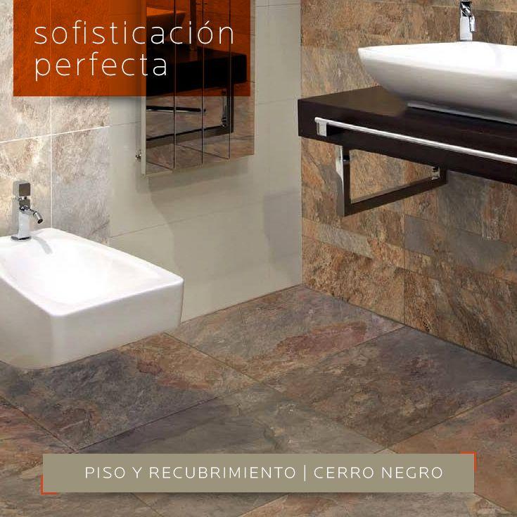 SOFISTICACIÓN PERFECTA   Ideal para reformar tu #baño con este #piso y #recubrimiento Cerro Negro Oxido y Oxido modular. Encuéntralo en DECERAMICA.COM