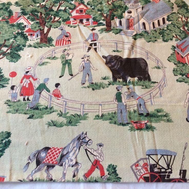 """Vtg curtain panel fabric BARKCLOTH? mint green county fair theme lined 67.5x80"""""""