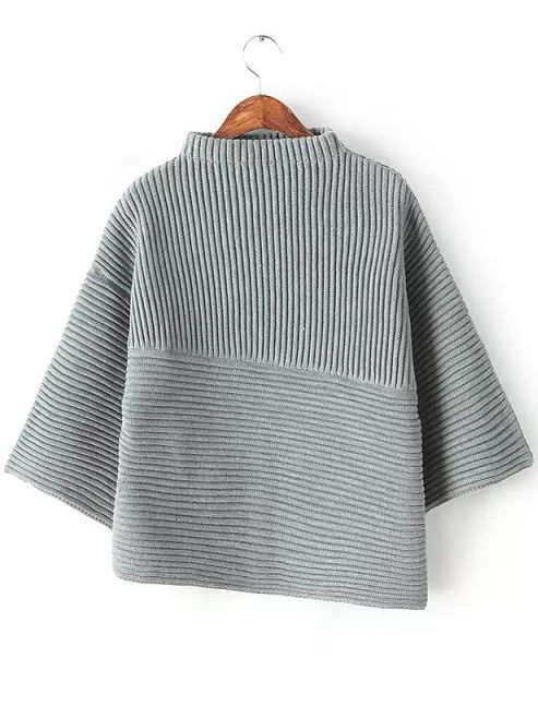 Grey Stand Collar Asymmetrical Knit Sweater 33.67