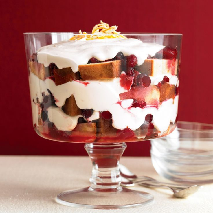 With layers of sweetened cranberries, buttery pound cake, and fluffy whipped cream, this trifle is a truly easy dessert -- merry and dazzling.