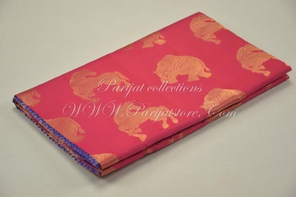 Animal Motiff Pink Silk Saree with Grand Rich Violet Pallu