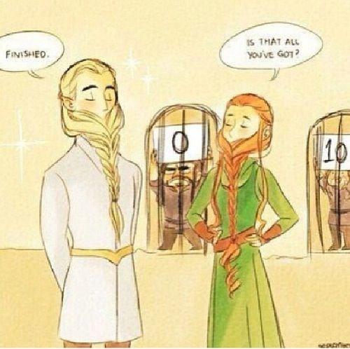The hobbit legolas and tauriel braid beard contest. Hobbit funny.