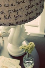 writing on a lamp shade with a Sharpie  (great way to personalize with your favorite  song lyrics / wedding vows, you name it!)