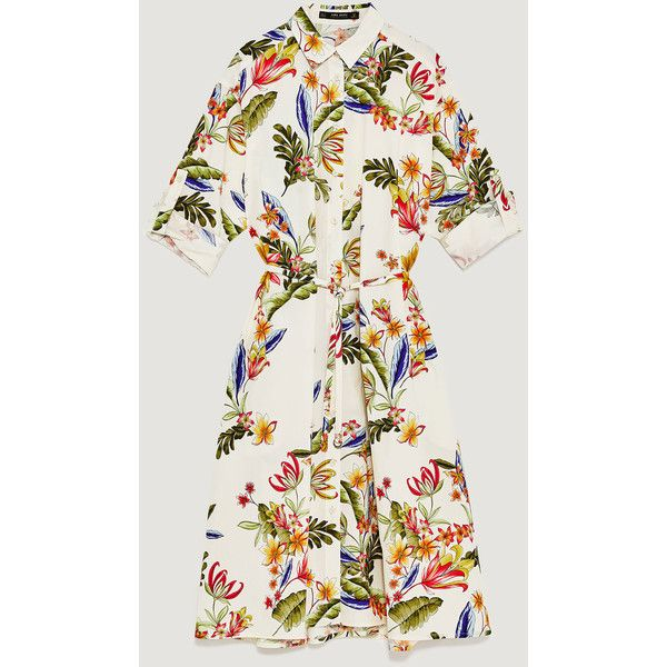TÚNICA ESTAMPADO FLORAL - Ver todo-VESTIDOS-MUJER | ZARA España (180 SAR) ❤ liked on Polyvore featuring tops, t-shirts, floral graphic tee, flower print t shirt, floral tops, white tee and white floral top