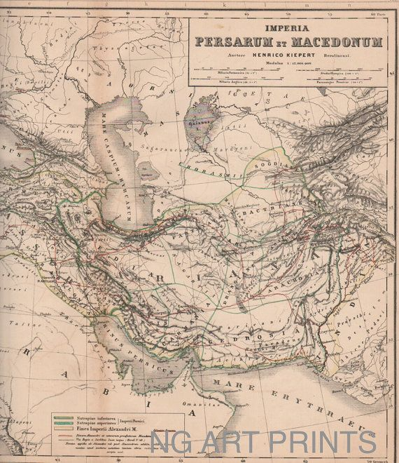 1800s Map of Ancient Persia by NGArtPrints, $26.00