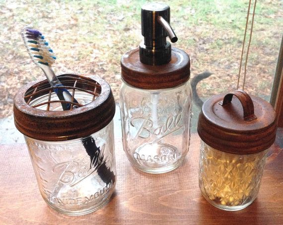 3pc Mason Jar Bathroom Set, Brown Rusty Metal - toothbrush holder, stainless steel soap dispenser, and canister on Etsy, $29.95