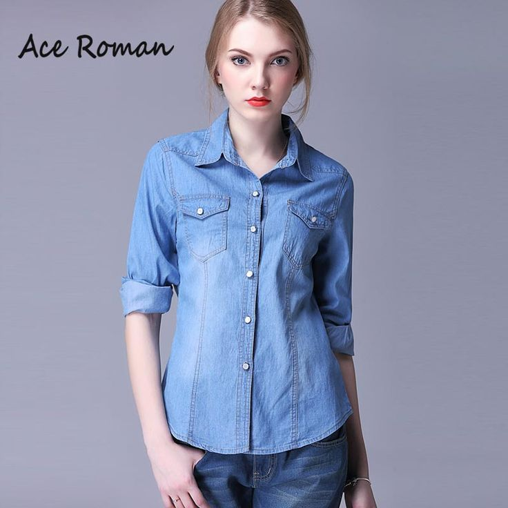 Find More Blouses & Shirts Information about New Women's Denim Blouses 2016…