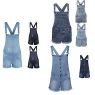 New Womens Denim Light Wash Distressed Frayed Dungaree Ladies Playsuit