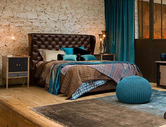 chambre turquoise tte de lit marron pouf bleu - Chambre Turquoise Et Marron