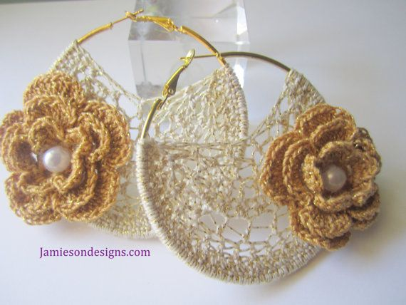 Natural gold crochet earrings with pearl by jamiesondesigns, $20.00