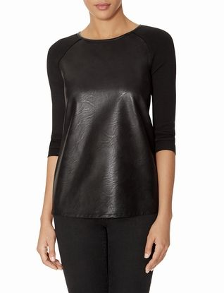 Faux Leather Front Sweater from THELIMITED.com