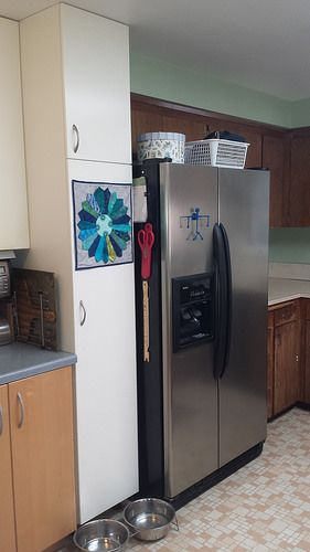 Pendulum man graces our fridge. With multiple pendulums in action, he's supposed to demonstrate chaos theory. He's there as a statement piece. Sort of the central design concept used for putting this kitchen together, you might say.
