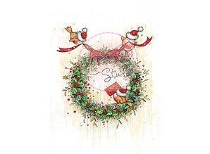 Wild Rose Studio`s Transparent Stempel, Weihnachtskranz