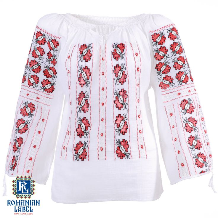$151.22 A 100% hand made traditional blouse, exclusively tailored out of natural materials, such as white cotton, red and black silk embroidery.