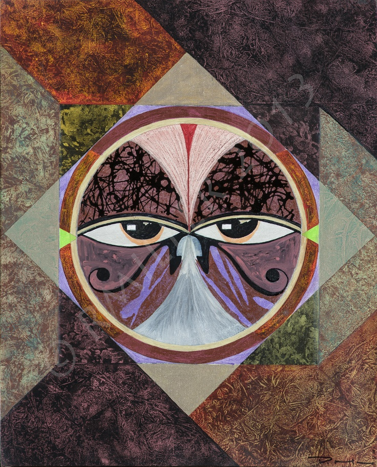 """16x20 mixed media painting named """"The Elder"""". More commonly seen as one eye and called """"The Eye Of Horus"""" It symbolizes health and strength in Egyptian mythology. The two eyes represent the full power of both eyes."""