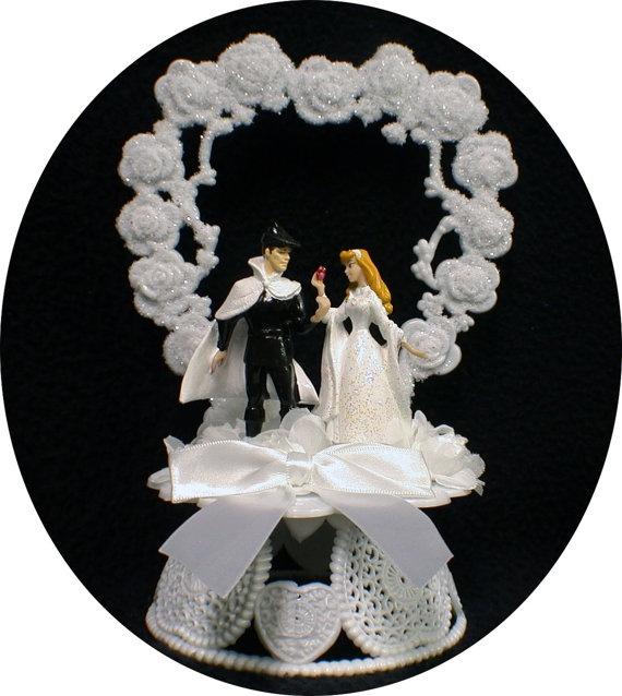 sleeping beauty prince charming disney wedding cake topper top heart fairytale 4400 via etsy