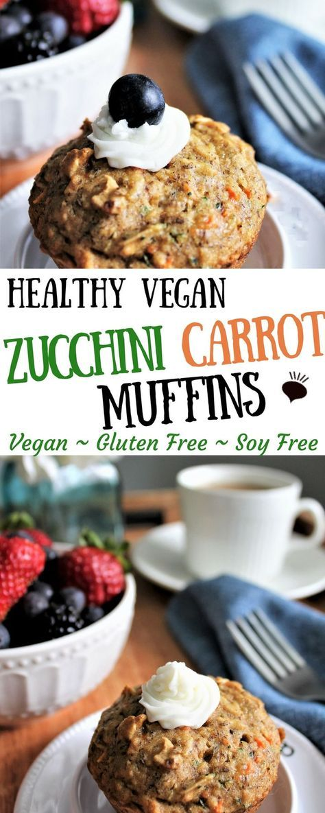 Healthy vegan zucchini, carrot, flax muffins are p…