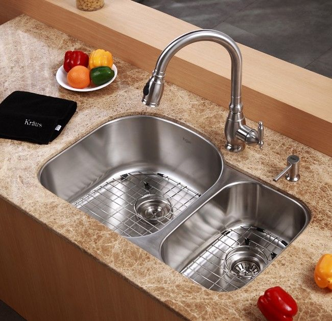 32 Quot Undermount 70 30 Double Bowl 16 Gauge Stainless Steel
