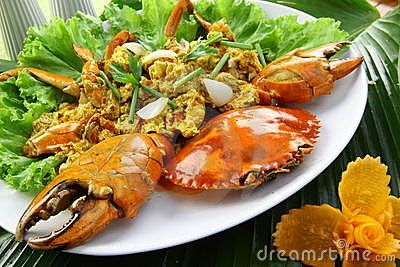 Crab with yellow curry powder. Thai Style Food