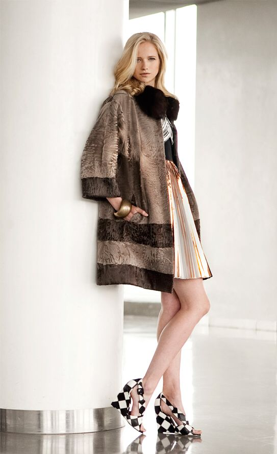 Two Tone Dyed Swakara Lamb Fur Coat with Dyed Sable Fur Collar