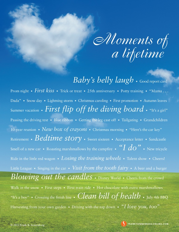 Moments of a Lifetime | Values to Live By | www.FrankSonnenbergOnline.com
