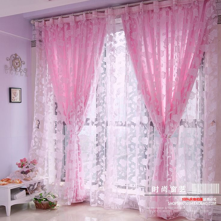 free shipping promotion high quality finished flock printing curtain romantic ready made window screening pink 1*2.7m-inCurtains from Home &...