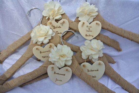 Name Wedding Dress Hanger Bridesmaids Gifts Rustic by JCBees