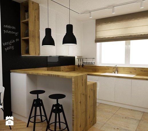 kuchnia w bieli,drewnie z dodatkami czarnego - metamorfoza - Mała otwarta kuchnia w kształcie litery u w aneksie, styl skandynawski - zdjęcie od Grafika i Projekt architektura wnętrz