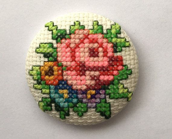 Brooch Vintage Flowers - Cross Stitch - Unique - Handmade. These brooches are handmade and are unique. Large 5cm/2 inch metal button base. Brooch