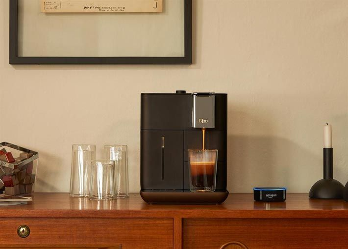 "Qbo coffee machine is now enabled for Alexa voice control: ""...make me an espresso."" In November 2017, the coffee machine and capsules producer Qbo (belongs to Tchibo, Eduscho) presented the new collaboration with the voice assistant 'Alexa' for modern smart homes... Photo: © Qbo."