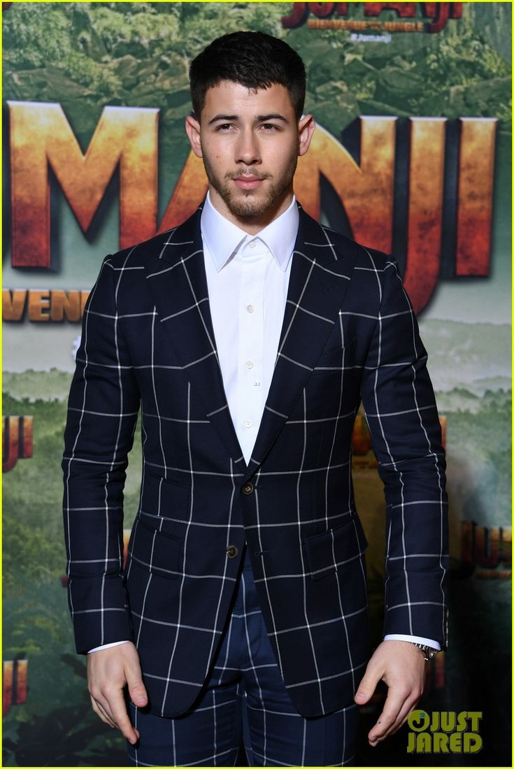 "Nick Jonas at the premier of ""Jumanji"" in Paris"