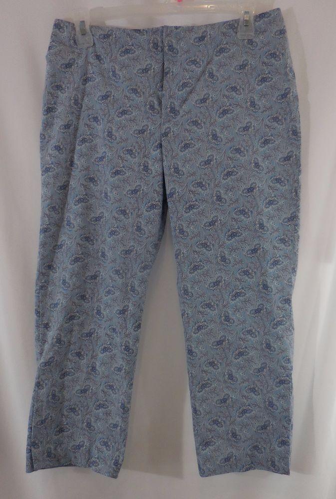 Gap Factory Stretch Capri Womens Size 14 Blue Paisley Y55228 #Gap #CapriCropped