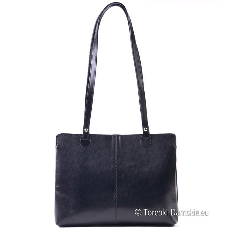 Włoska torebka damska ze skóry naturalnej, średnia wielkość, do noszenia na ramieniu -> Kliknij i zobacz zdjęcia http://torebki-damskie.eu/skorzane/1474-czarna-skorzana-wloska-torebka-na-ramie.html