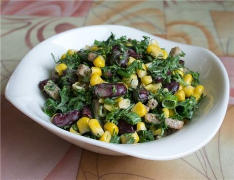 Вкусные салаты с фасолью