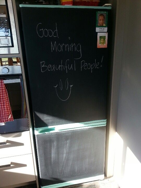 Fridge looking old? A coat of zinnser primer then chalkboard paint! ! Adds a bit of fun to the kitchen.