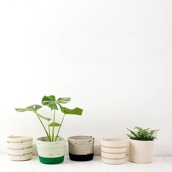 Cylinder Shaped Coiled Rope Basket / Bathroom Storage /