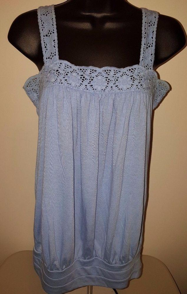 Twenty One Woman's Blue w/ Floral Lace Straps Tank Shirt Size S #TwentyOne #TankCami #Casual