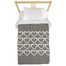 Cute Hearts Wooly Twin Duvet Cover